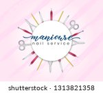 template for business card with ... | Shutterstock .eps vector #1313821358