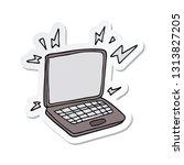 sticker of a cartoon laptop... | Shutterstock .eps vector #1313827205