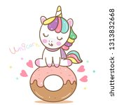 cute unicorn vector pony... | Shutterstock .eps vector #1313832668