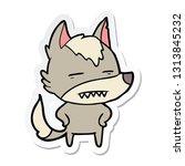 sticker of a cartoon wolf... | Shutterstock .eps vector #1313845232