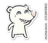 distressed sticker of a cartoon ... | Shutterstock .eps vector #1313845802