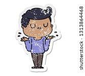 distressed sticker of a cartoon ... | Shutterstock .eps vector #1313864468