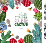 blooming cacti and popular... | Shutterstock .eps vector #1313899808