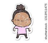 distressed sticker of a cartoon ... | Shutterstock .eps vector #1313911475
