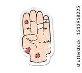 retro distressed sticker of a... | Shutterstock .eps vector #1313918225