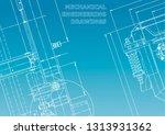 blueprint. vector engineering... | Shutterstock .eps vector #1313931362