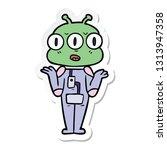 sticker of a cartoon three eyed ... | Shutterstock .eps vector #1313947358