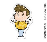 distressed sticker of a happy... | Shutterstock .eps vector #1313952608