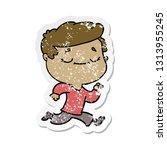 distressed sticker of a cartoon ... | Shutterstock .eps vector #1313955245