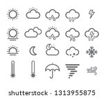 set of 20 weather icons. thick... | Shutterstock .eps vector #1313955875