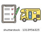 caravan and checklist and...   Shutterstock .eps vector #1313956325