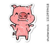 distressed sticker of a angry... | Shutterstock .eps vector #1313959418