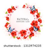 spring nature getting card with ... | Shutterstock .eps vector #1313974235