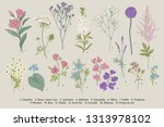 set summer flowers. classical... | Shutterstock .eps vector #1313978102