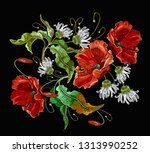 embroidery blossoming white... | Shutterstock .eps vector #1313990252