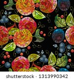embroidery apples and plums ... | Shutterstock .eps vector #1313990342