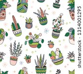 house plants color hand drawn... | Shutterstock .eps vector #1314001295