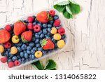 fresh blueberry  strawberry and ... | Shutterstock . vector #1314065822