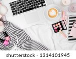 fashion blogger workspace with...   Shutterstock . vector #1314101945