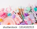 makeup products and accessory... | Shutterstock . vector #1314102515
