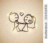 Hand Drawn Wedding Couple On...