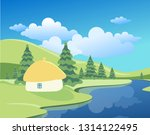 spring or summer landscape with ... | Shutterstock .eps vector #1314122495