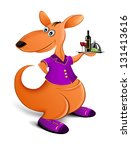 kangaroo waiter with a tray.... | Shutterstock .eps vector #131413616