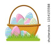 wicker basket happy easter eggs | Shutterstock .eps vector #1314155588