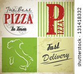 grunge pizza squares. pizza... | Shutterstock .eps vector #131418332