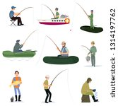 Fishermen Catching Fish with Fishing Rods Set, Male Fisher Characters Sitting on Shore and Using Boats Vector Illustration