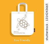 cloth bag turtle pattern icon... | Shutterstock .eps vector #1314243665