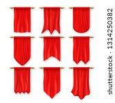 pennat flag set. red empty... | Shutterstock . vector #1314250382