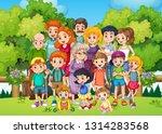 a big family at the garden... | Shutterstock .eps vector #1314283568
