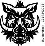 boar head tattoo shadow | Shutterstock .eps vector #1314343718