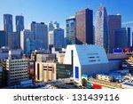 Dense buildings in Shinjuku Ward, Tokyo, Japan. Shinjuku is the main skyscraper district of the city. - stock photo