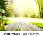 desk of free space and spring... | Shutterstock . vector #1314435998
