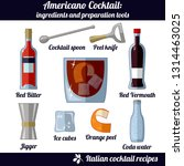 americano cocktail. infographic ... | Shutterstock .eps vector #1314463025