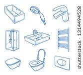 set of bathroom interior...   Shutterstock .eps vector #1314494528