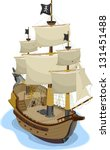 Illustration Of Pirate Ship In...