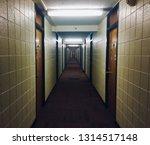 College dorm hallway