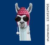 comic portrait of a llama in a... | Shutterstock .eps vector #1314519905