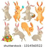 Stock vector easter bunny jumping rabbit dancing funny bunnies animals and rabbits easters eggs holiday pets 1314560522