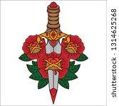 traditional dagger and flower... | Shutterstock .eps vector #1314625268