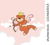 cupid teddy bear cartoon... | Shutterstock .eps vector #1314665015
