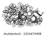 vector illustration  snake and... | Shutterstock .eps vector #1314674408