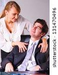 businesswoman is seducing her... | Shutterstock . vector #131470496