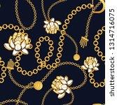 golden chains bold floral blue...   Shutterstock .eps vector #1314716075