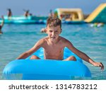 european boy is sitting and... | Shutterstock . vector #1314783212