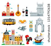 travel to portugal icons and... | Shutterstock .eps vector #1314792638