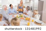 mother serving the turkey for... | Shutterstock . vector #131481992